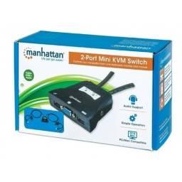 KVM para 2 PC VGA y USB C/Audio Manhattan 151245