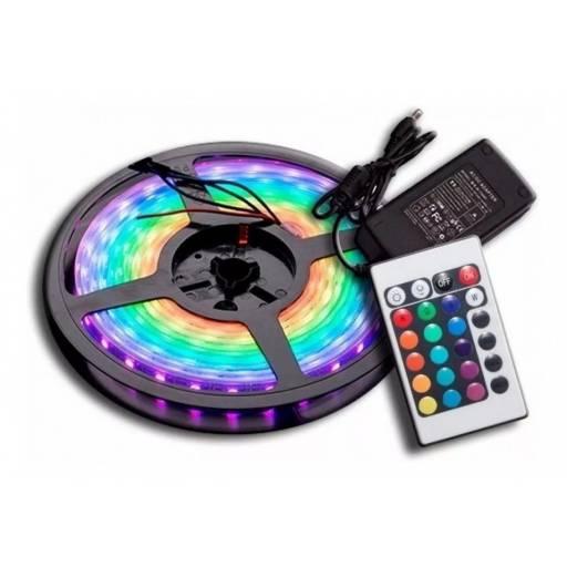 Tira Led RGB con control y trasformador