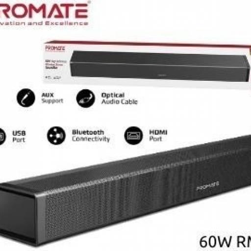 Barra de sonido Promate Bluesbar 60W Aux/USB/Optical/HDMI