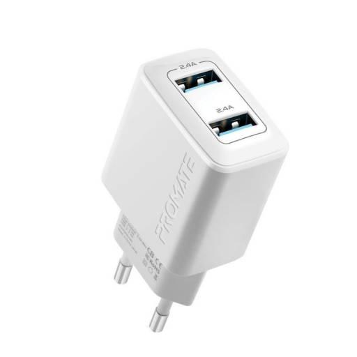 Cargador de pared 12W 2 USB Promate Biplug  WTH EU
